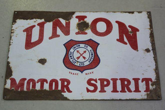 Enamel Sign - Union Motor Spirit Double Sided Post Mount