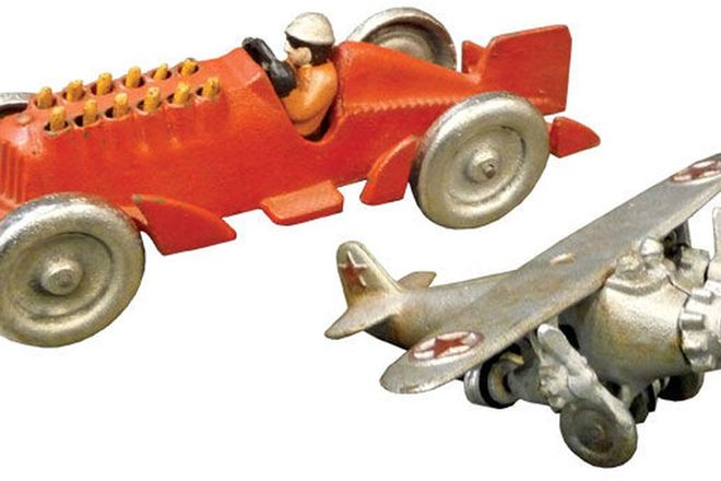 Cast Iron Model Plane (c1930's) & Hubley Cast Iron Racer (c1920's - 1930's)