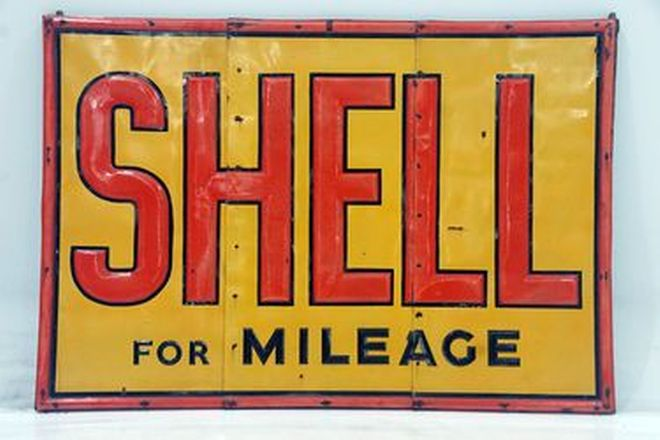Enamel Sign - Shell 3-Piece Embossed on Wooden Frame (1.8 x 2.6m)