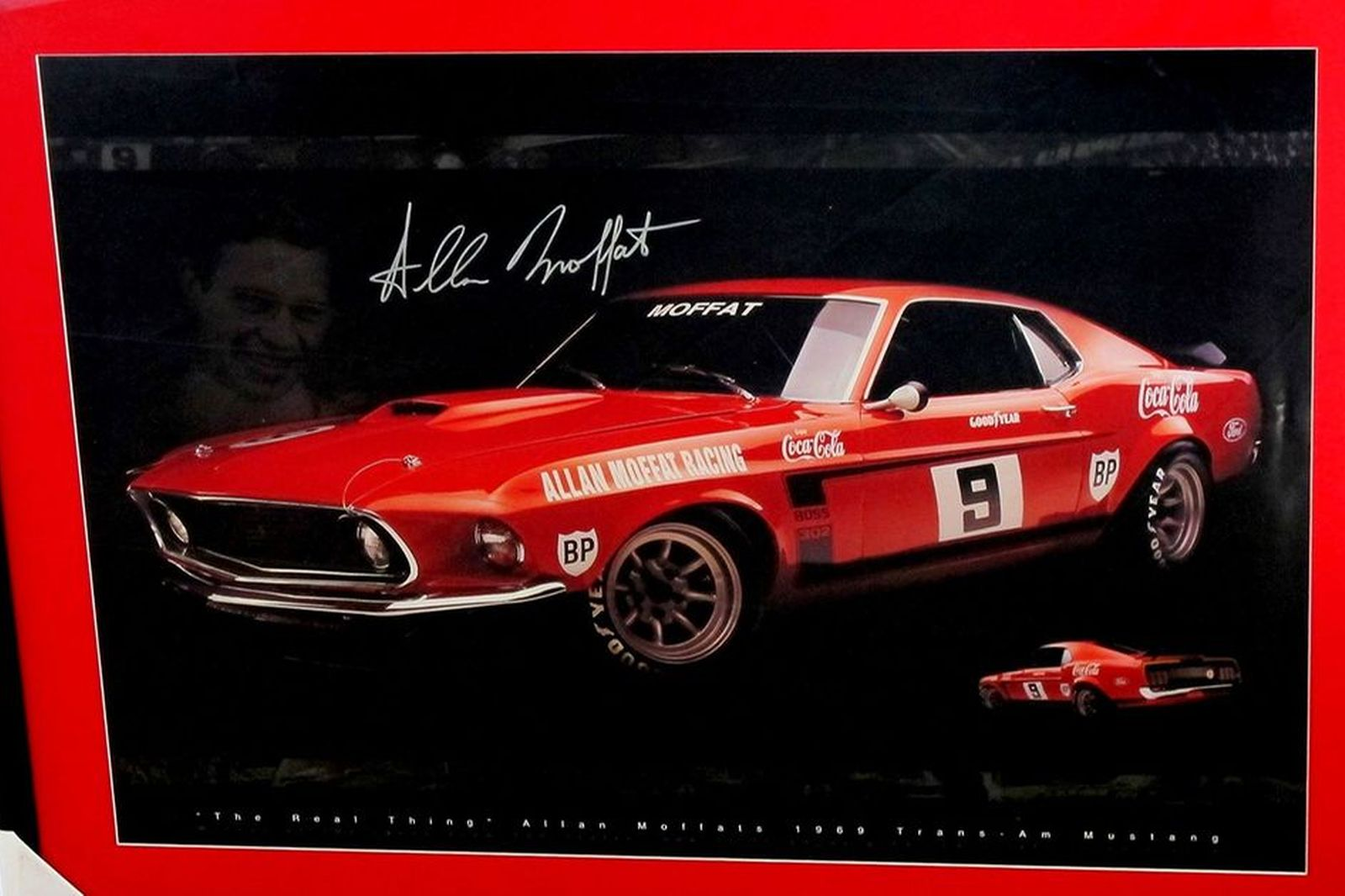 Framed Signed Print - Allan Moffat's 1969 Trams Am Mustang (100 x 75cm)