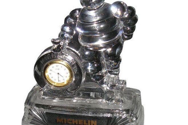 Desk Clock - Glass Michelin Man (18 cm high)