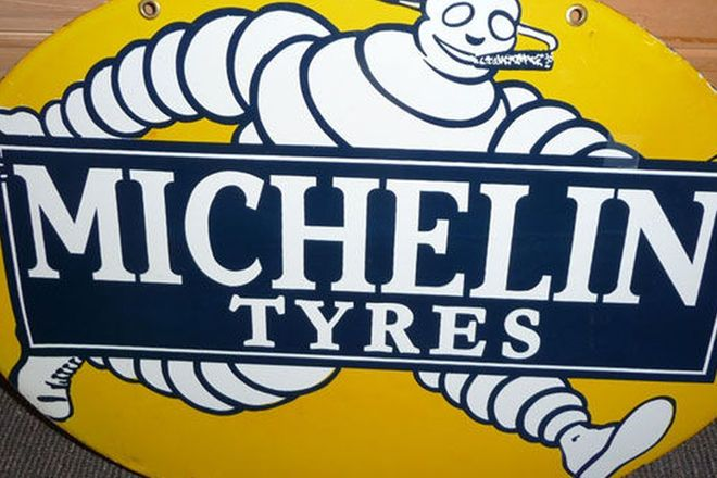 Oval Michelin Tyres Sign (41cm h x 54cm w) & Framed Michelin Print (Reproduction)