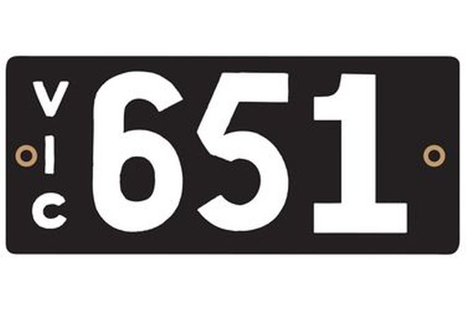 Number Plates - Victorian Numerical Number Plates '651'