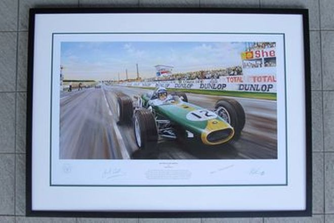 Signed Framed Limited Edition Print - 'History in The Making' Sir Jack Brabham