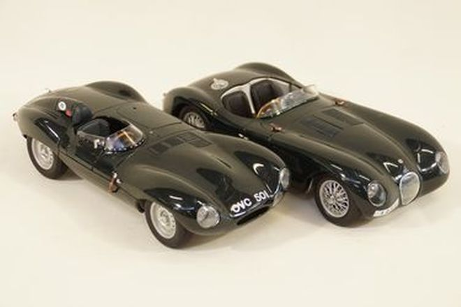 Model Cars x 2 - Autoart Jaguar C-Type BRG & D-Type OVC501 BRG (1:18 scale)