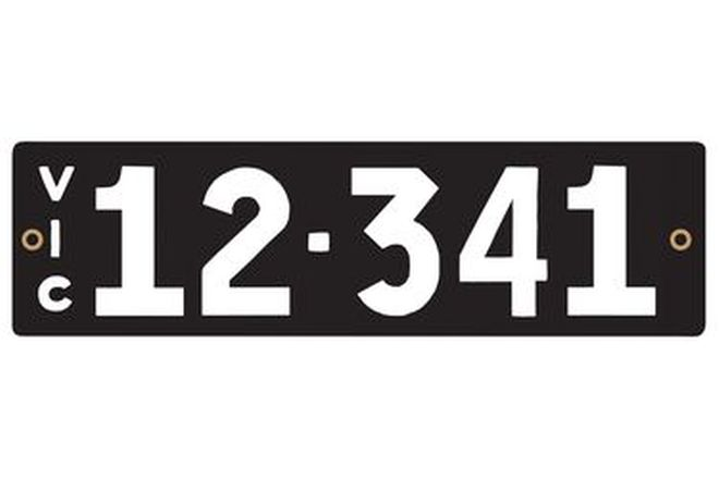 Victorian Heritage Numerical Number Plates - '12.341'