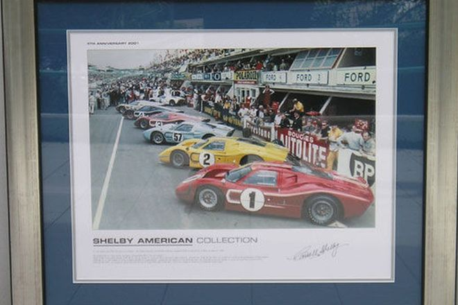 Framed Print - Ford GT40s at Le Mans Signed by Carroll Shelby