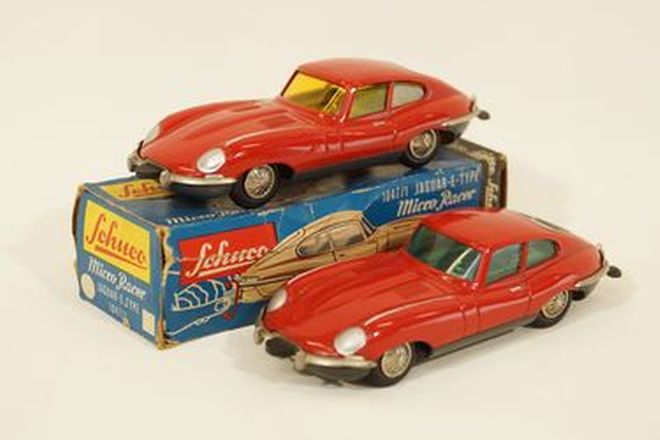 Model Cars x 2 - Schuco Micro racer diecast Jaguar E-Type Coupes clockwork in Red, 1(1:43 scale)