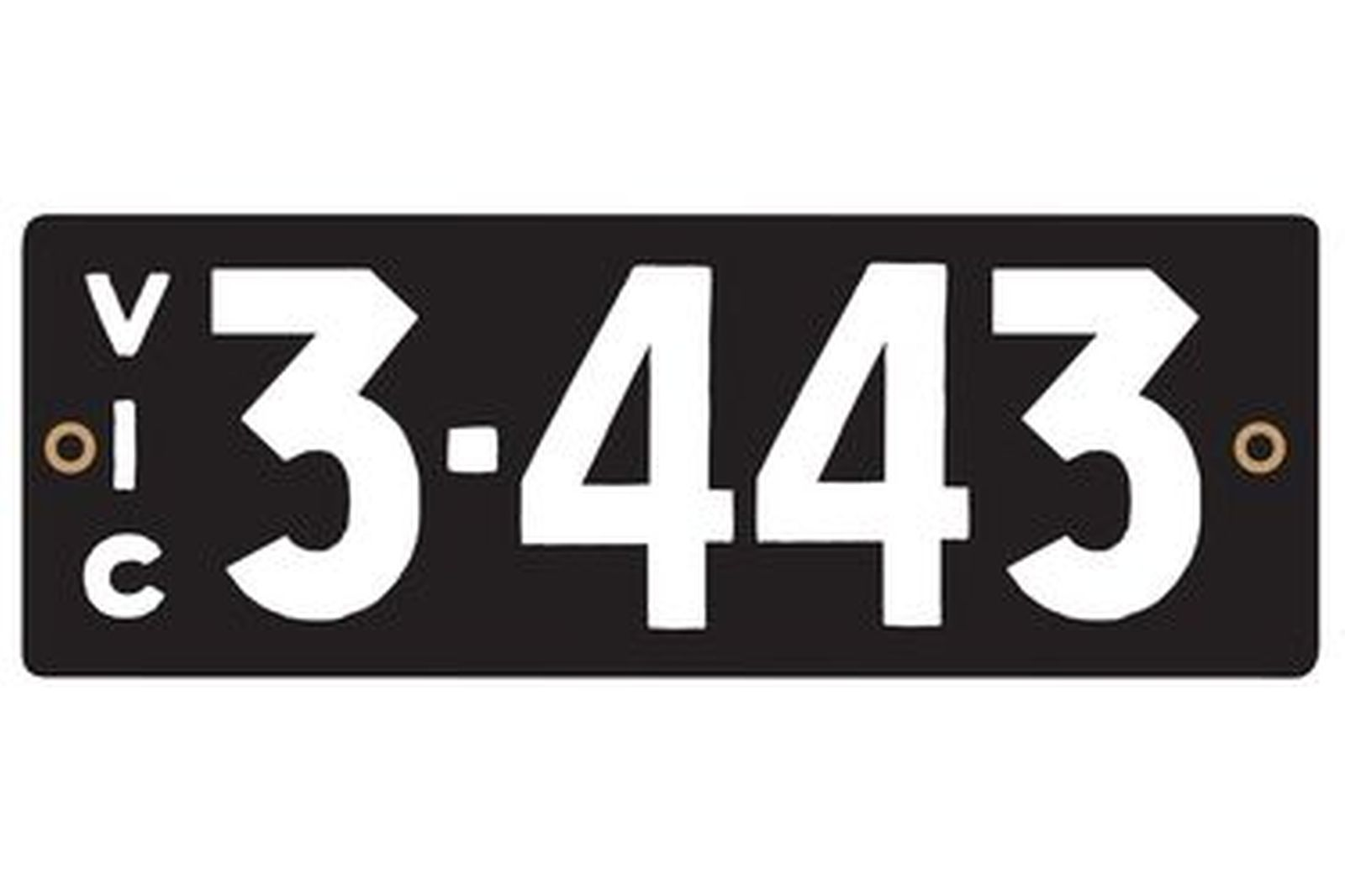 Victorian Heritage Number Plate '3.443'