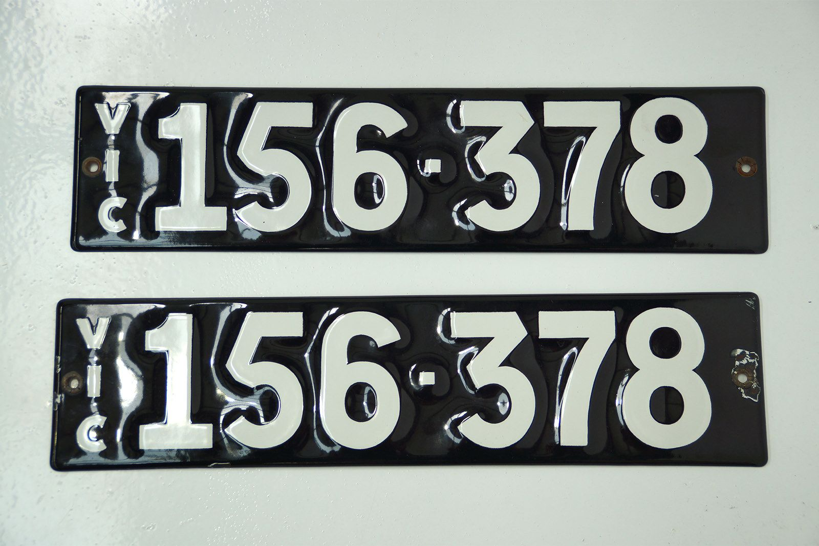 Number Plates - Victorian Numerical Number Plates '156-378'