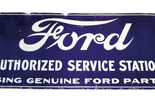 Enamel Sign - Ford 'Authorized Service Station' (150 x 70cm)