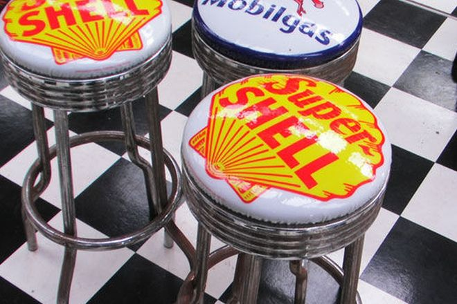Bar Stools x 3 - Super Shell x 2 & Mobil Oil