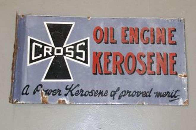 Enamel Sign - Double Sided Cross Engine Oil - Kerosene (30 x 57cm)