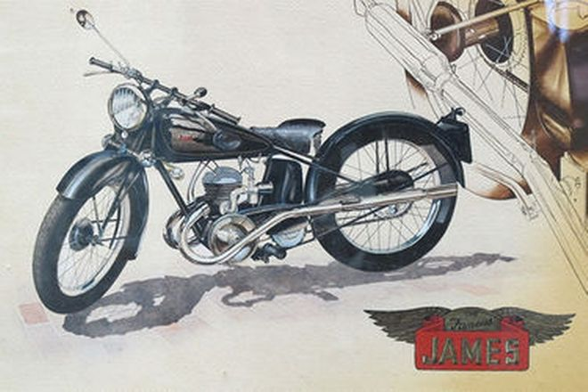 Framed Art Works x 3 - James Motorcycle, Early Chev Convertible, Indian Power Plus Motorcycle