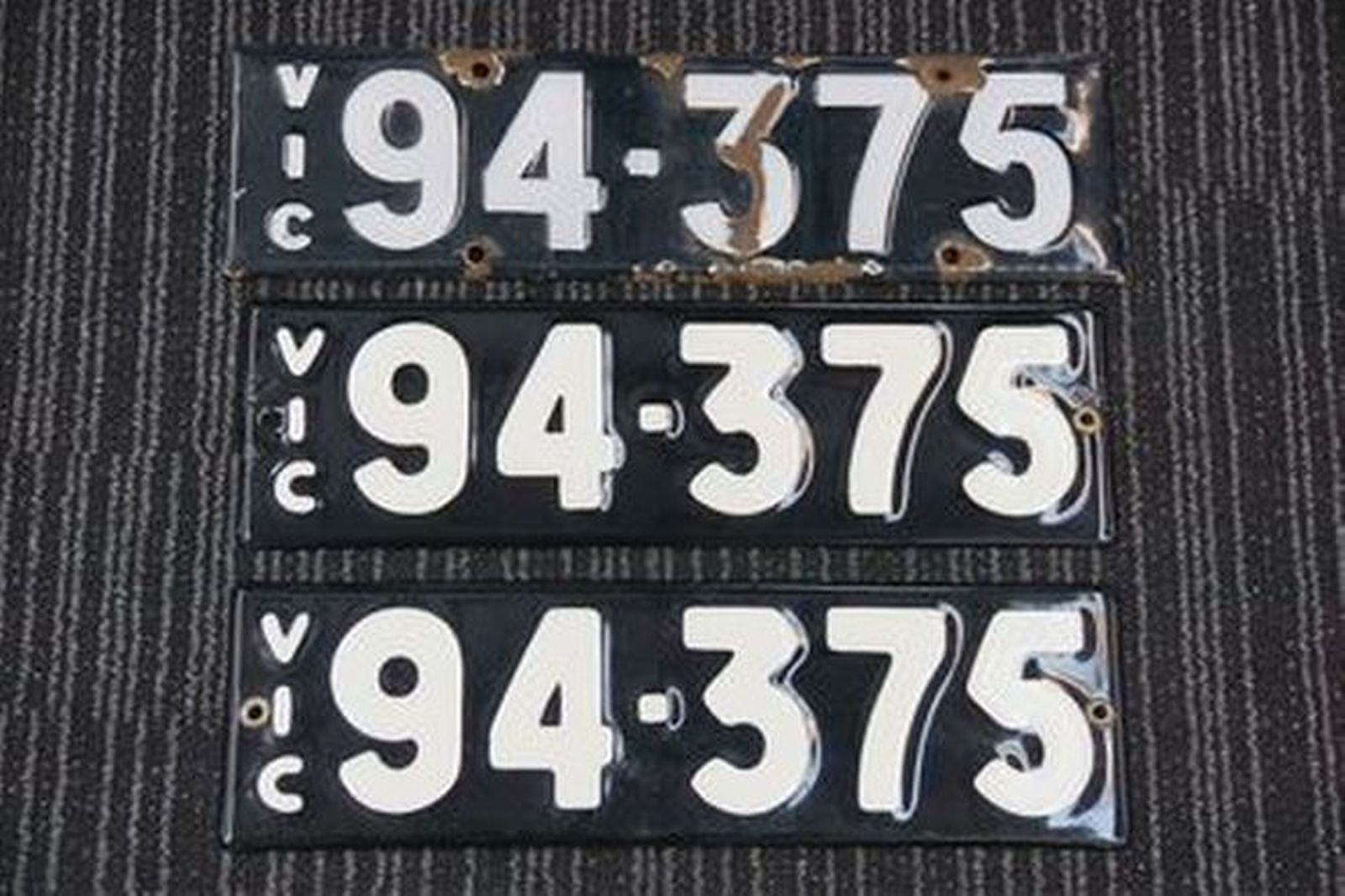 Number Plates - Victorian Numerical Number Plates '94.375'