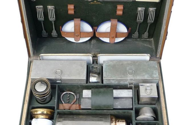 Picnic Set - c.1920's Motor Box Made by Edward & Sons, London (not complete)