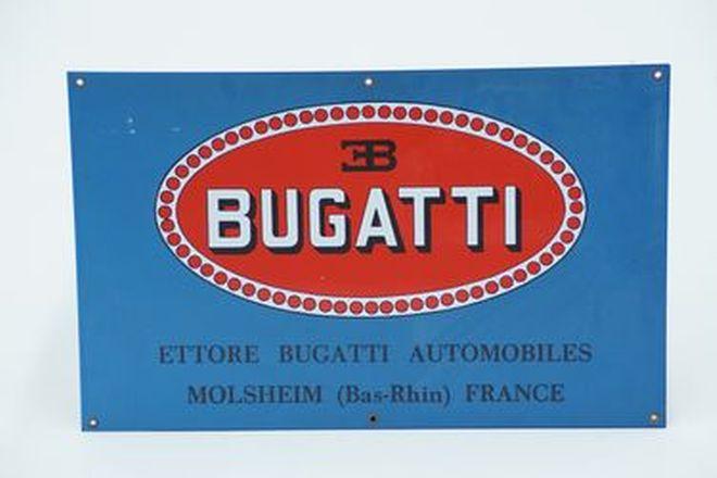 Enamel Sign - Ettore Bugatti Automobiles Molsheim, France (55x35cm)