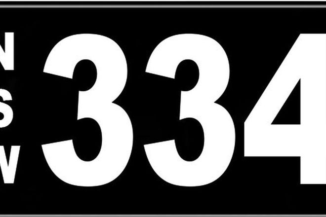 Number Plates - NSW Numerical Number Plates '334'