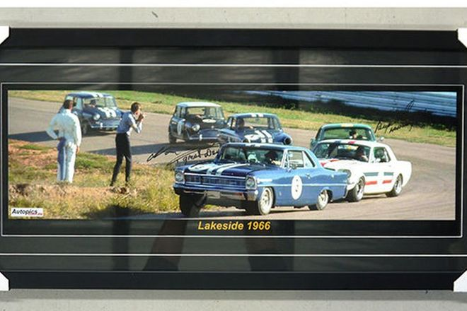 Framed Signed Photograph - 1966 Lakeside Motor Racing