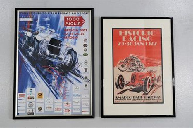 Framed Posters x 2 - 1977 Amaroo Park Historic Racing (68 x 95cm) & 2003 Mille Miglia (75 x 105cm)