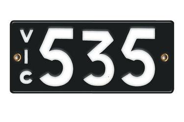 Victorian Vitreous Enamel Number Plates - '535'