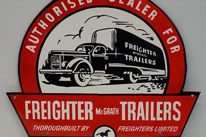 Enamel Sign - 'Authorised Dealer For McGrath Freighter Trailers' (reproduction)