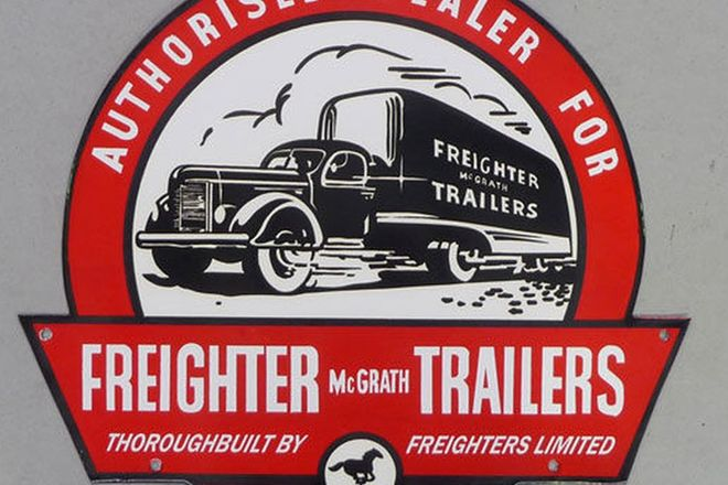 Enamel Sign - Freighter Trailers Dealership (Reproduction - 430mm diameter)