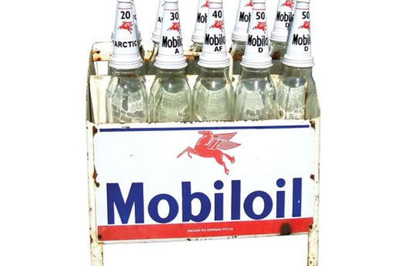 Rack & Bottles - c1950s/60s Mobil Oil  (Litre Bottles) (Reproduction Tops)