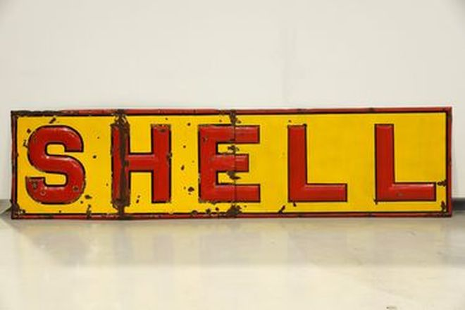 Enamel Sign - Shell 2 piece Embossed (12' x 3')