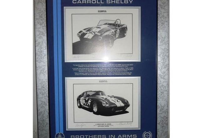 Framed Signed Print - Brothers in Arms Shelby Cobras  (52cm x 66cm) Signed by Carroll Shelby 14/30