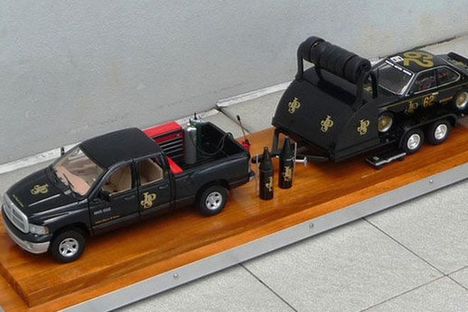 Model Cars - JPS Truck & BMW 635i Touring (in display case)