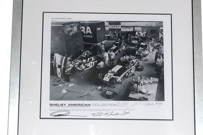 Framed Signed Print - Shelby Works signed by 6 staff including Carroll Shelby (88 x 80 cm)
