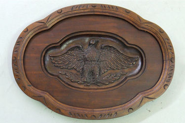 Wooden Plaque - Relief Carved American Eagle (63cm H x 86cm W)