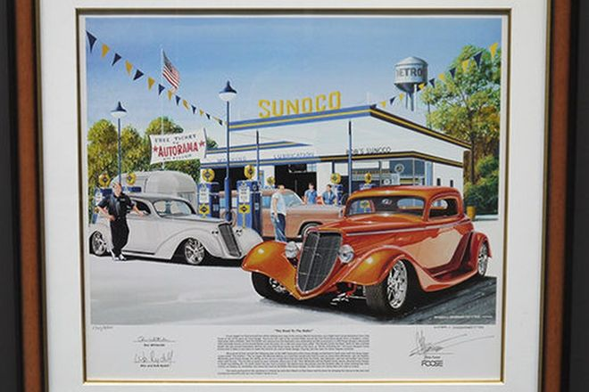 Print - 'Road to Ridler'  Signed by Chip Foose (cars in print built by Chip Foose) (80cm x 83cm)