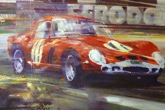 Original Oil Painting of a Ferrari 250GTO by Malcolm Alabaster (134 x 86cm)