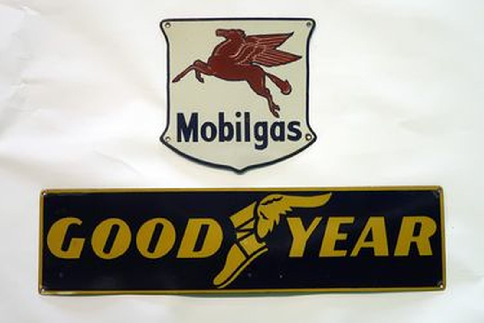 Enamel Signs x 2 - Mobilgas Shield (31 x 28cm) & Goodyear (80 x 20cm)