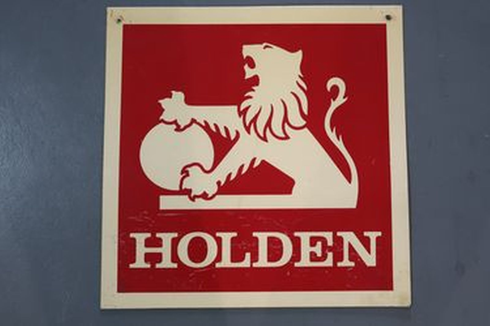 Sign - Holden Dealer Square Red on White Plastic Sign (61 x 61cm)