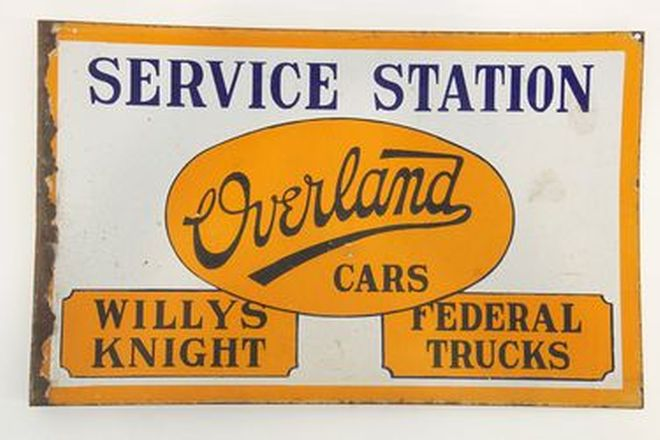 Enamel Sign - Double sided Overland Wall Mounted Dealership Sign (61 x 38cm)