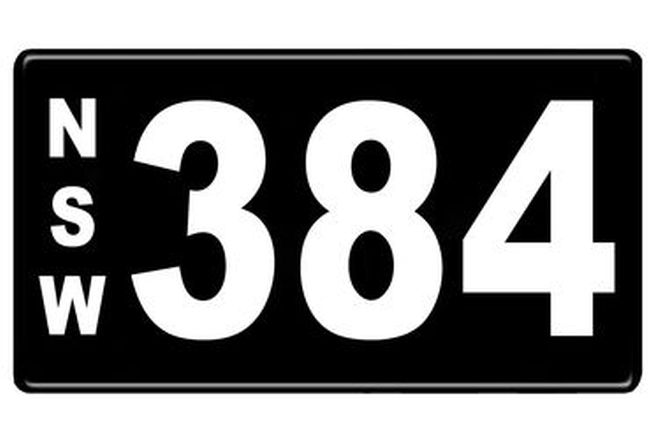 Number Plates - NSW Numerical Number Plates '384'