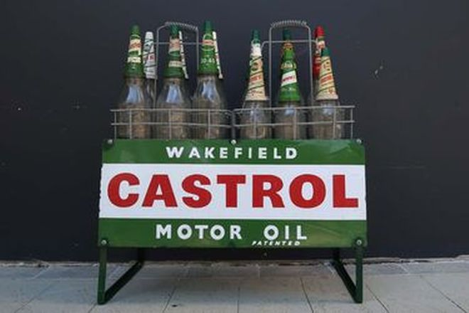 Castrol Oil Rack and Bottles - 9 x Quart, 3 x Pint and Assorted Pourers and Tops