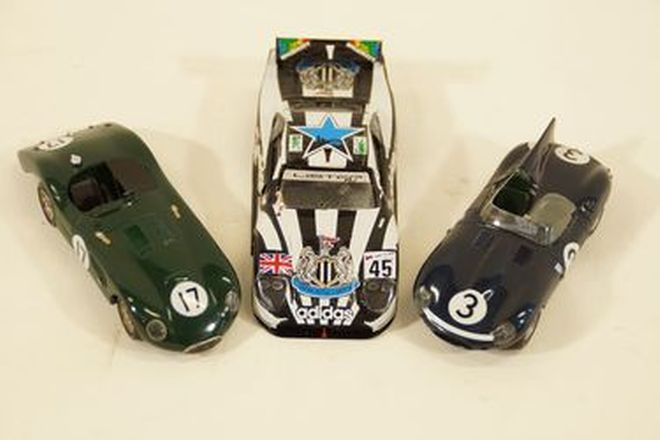 Model Cars x3 - Provence Moulage Resin - Jaguar 1952 C-Type,  D-Type & Lister Storm LeMans 1997