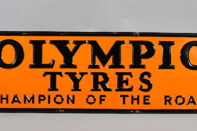 Enamel Sign - Olympic Tyres Embossed (6' x 2')