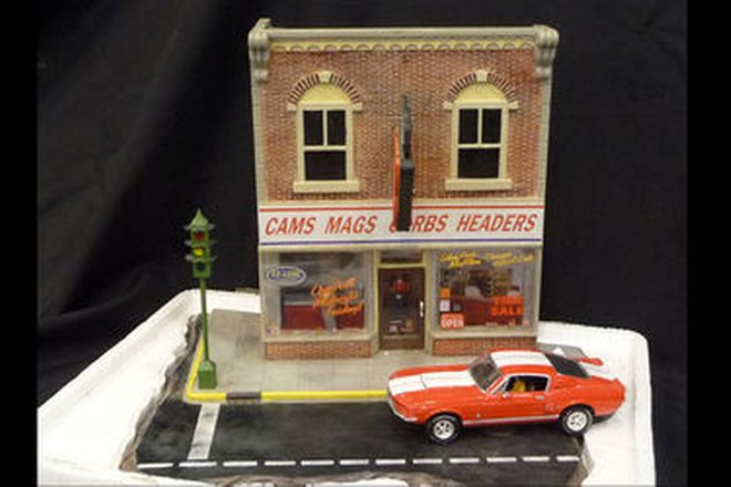 Models x 2 - Model of Service Station (70cm x 40cm) and Speed Shop (24cm x 20cm)