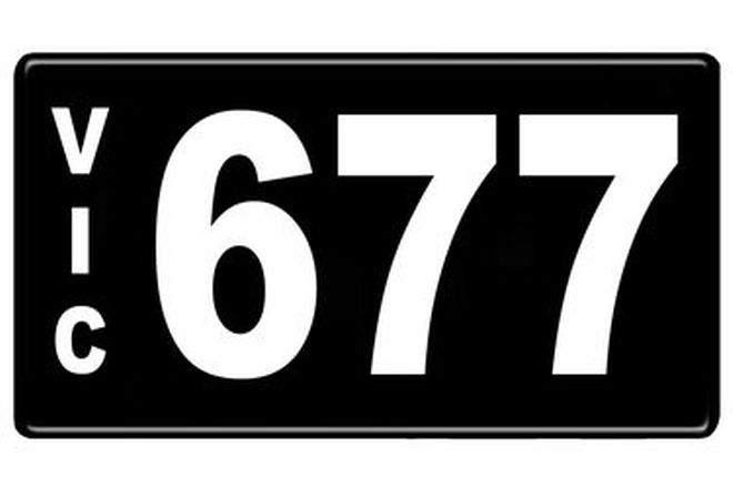 Number Plates - Victorian Numerical Number Plates '677'