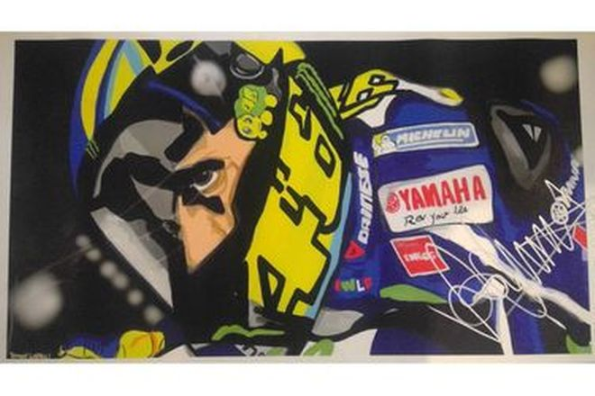 Painting of Valentino Rossi Signed - 29cm x 52cm approx