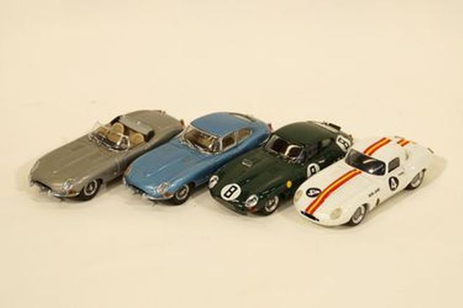 Model Cars x 4 - Jaguar E-Type: Kyosho, Best diecast #8 BRG and Dinkum Classic LWE Bob Jane #4