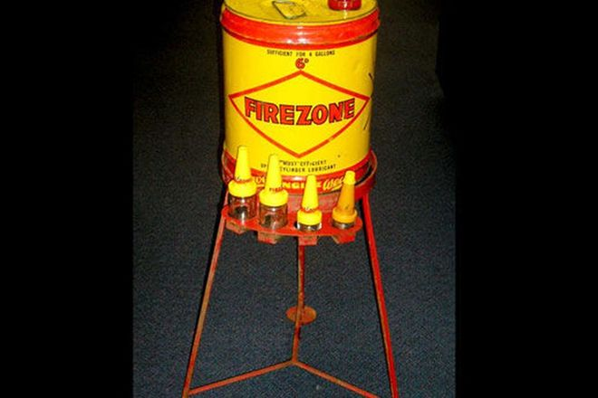 Oil Stand Pump - Firezone Lubricant 4 Gallon Drum with Refill Bottles on Stand