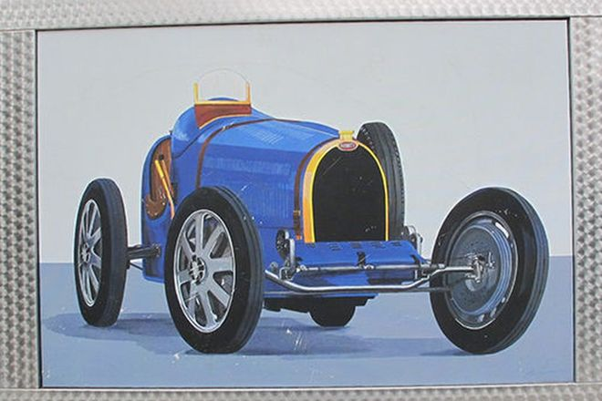 Framed Painting - Bugatti Type 35 in Turned Aluminium Frame by Terry Lawrie (115cm x 80cm)