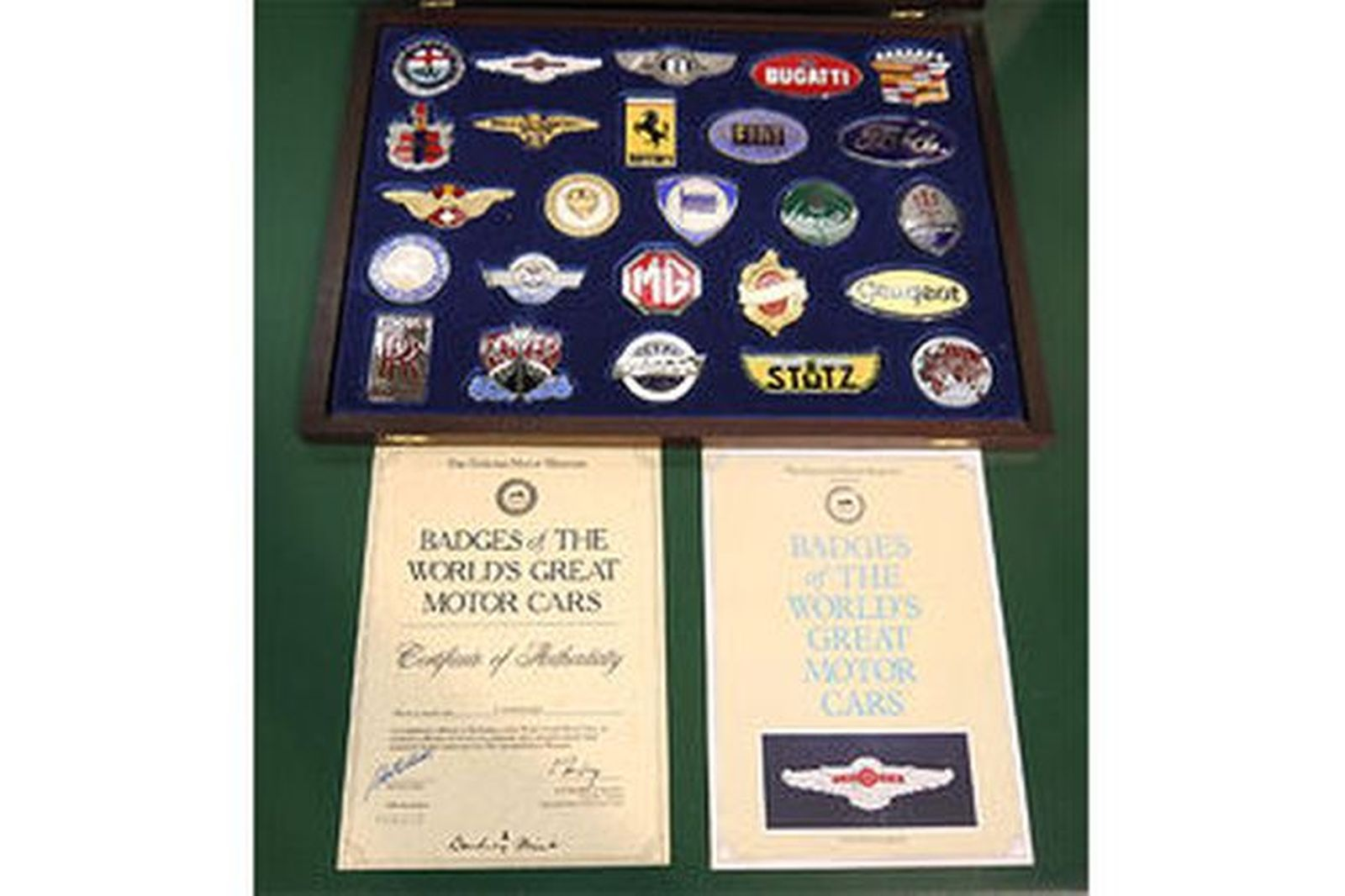 Set of 25 Badges - 'The Worlds Great Motor Cars' by Danbury Mint with Certificates