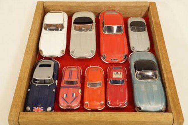 Model Cars x 9 - Jaguar E-Type various plastic models and built-up kit models